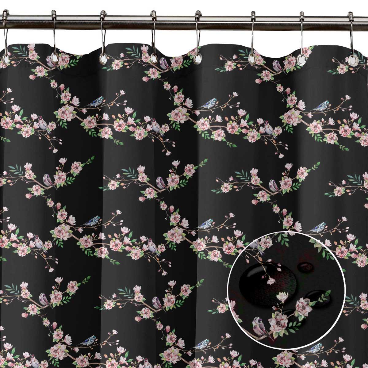 miniature 16 - S4Sassy Noir fleur et chardonneret oiseau rideaux de douche imprim?s-JpP