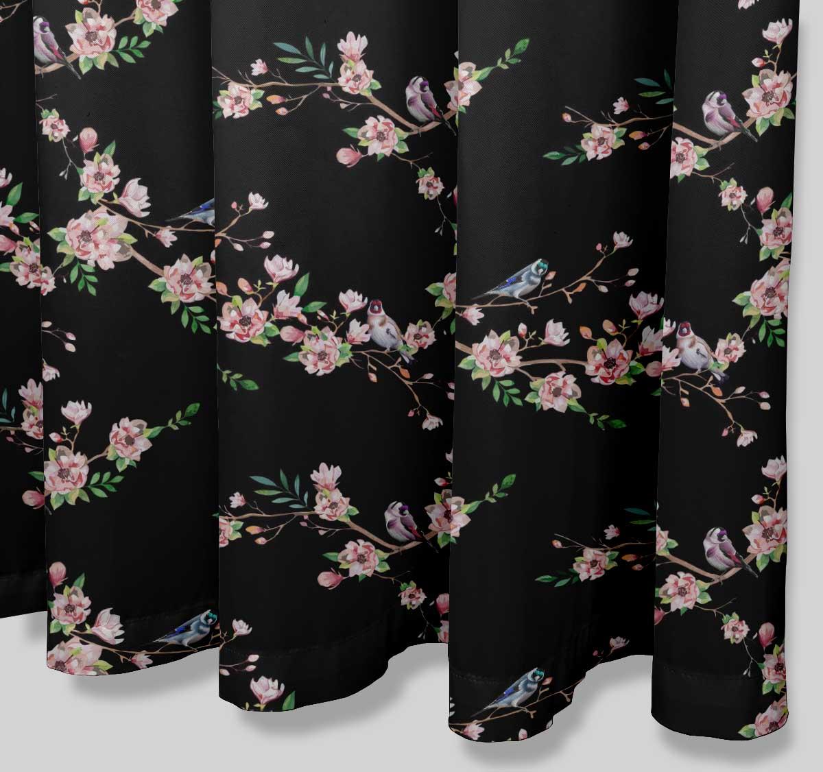 miniature 17 - S4Sassy Noir fleur et chardonneret oiseau rideaux de douche imprim?s-JpP
