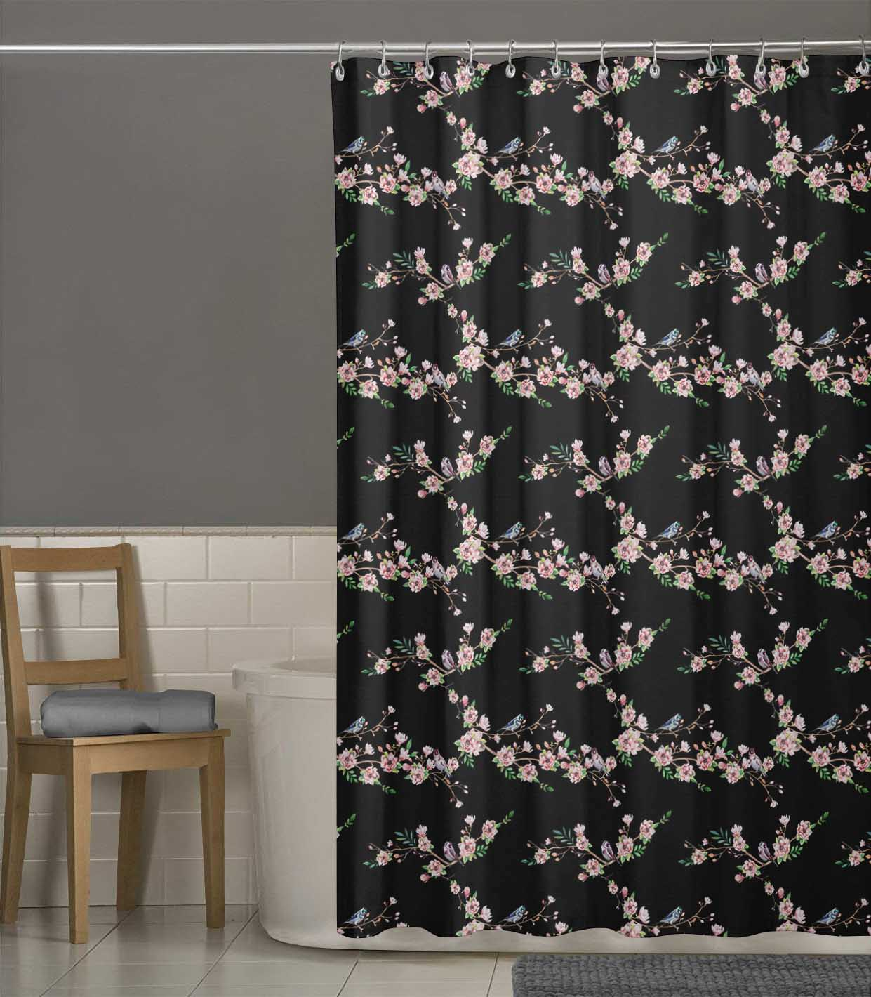 miniature 18 - S4Sassy Noir fleur et chardonneret oiseau rideaux de douche imprim?s-JpP