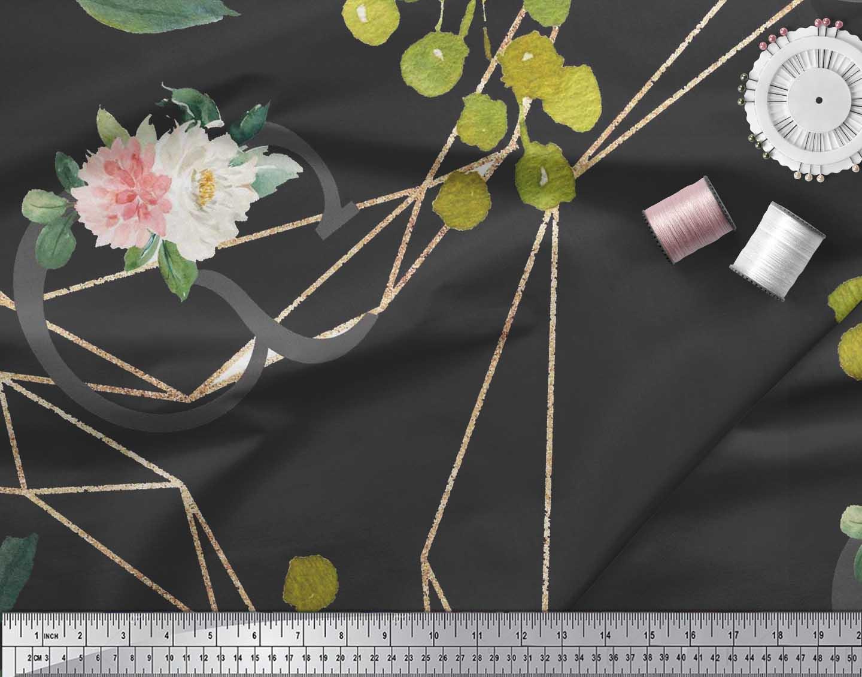 Soimoi-Black-Cotton-Poplin-Fabric-Leaves-amp-Ranunculus-Floral-Fabric-SVd thumbnail 4