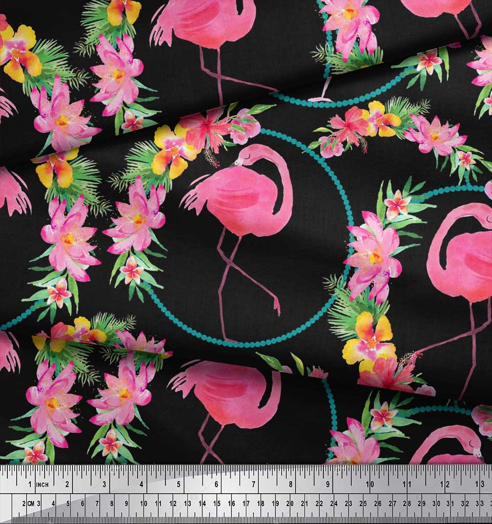 Soimoi-Black-Cotton-Poplin-Fabric-Floral-Wreath-amp-Flamingo-Bird-DJ3 thumbnail 3