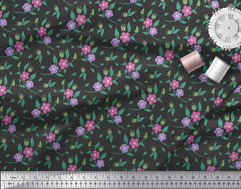 Soimoi-Black-Cotton-Poplin-Fabric-Leaves-amp-Periwinkle-Floral-Decor-Eg9 thumbnail 4