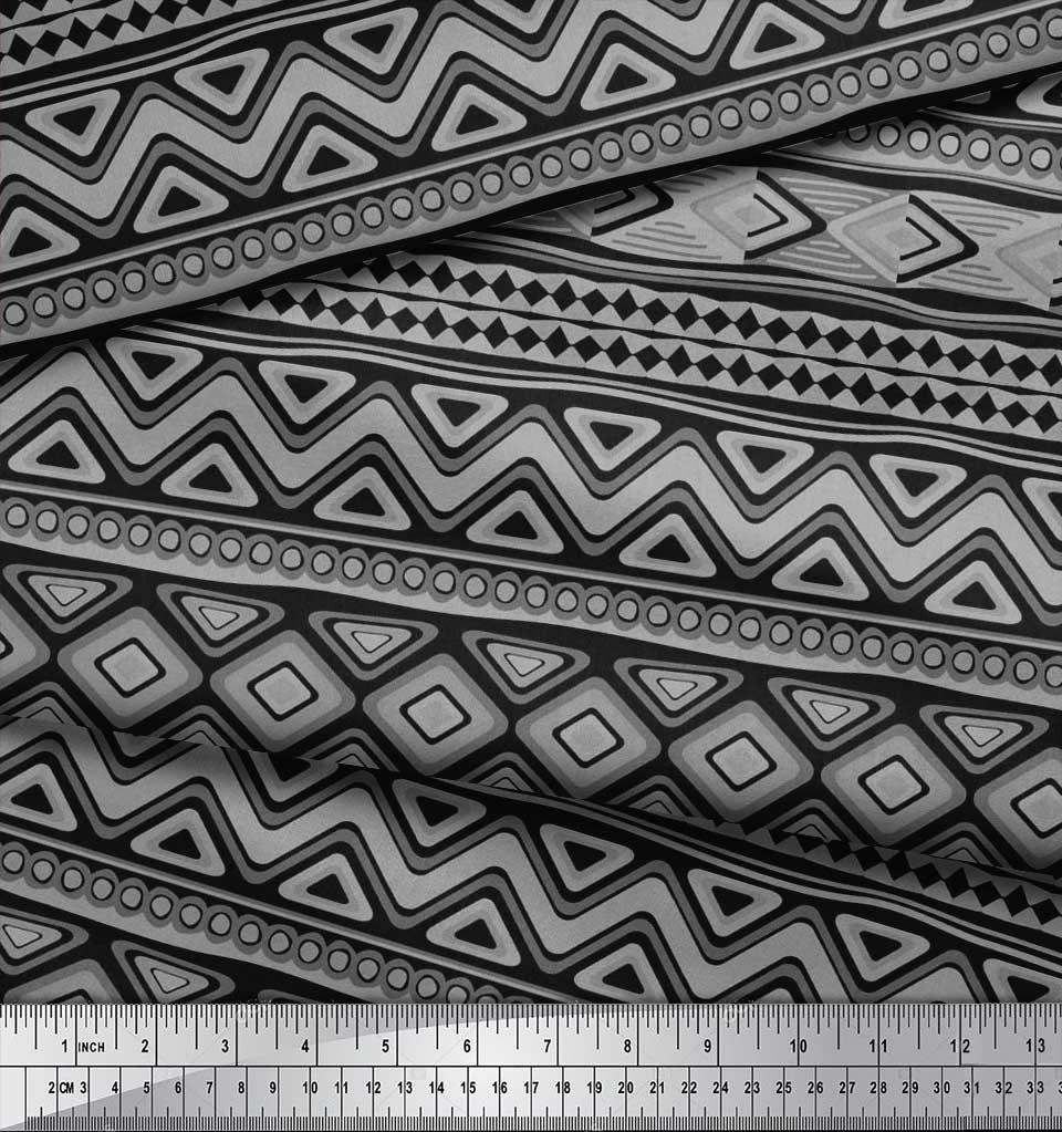 Soimoi-Cotton-Poplin-Fabric-Aztec-Geometric-Printed-Fabric-1-metre-PLw thumbnail 3