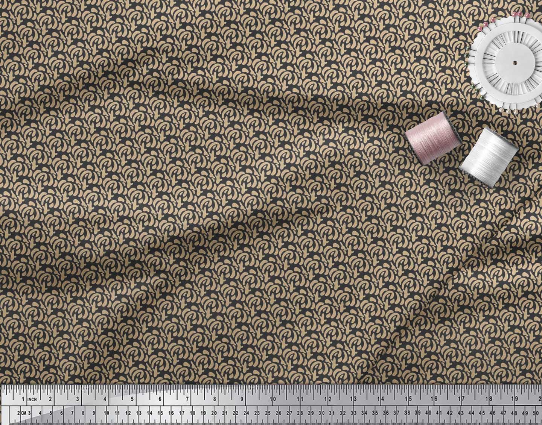 Soimoi-Cotton-Poplin-Fabric-Brush-Stroke-Abstract-Printed-Craft-TJ6 thumbnail 3