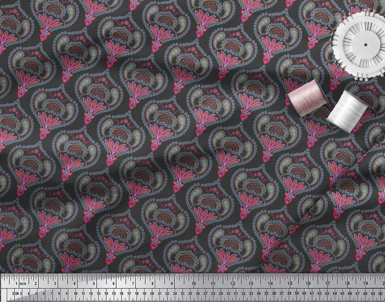 Soimoi-Black-Cotton-Poplin-Fabric-Moroccan-Damask-Printed-Craft-cul thumbnail 4