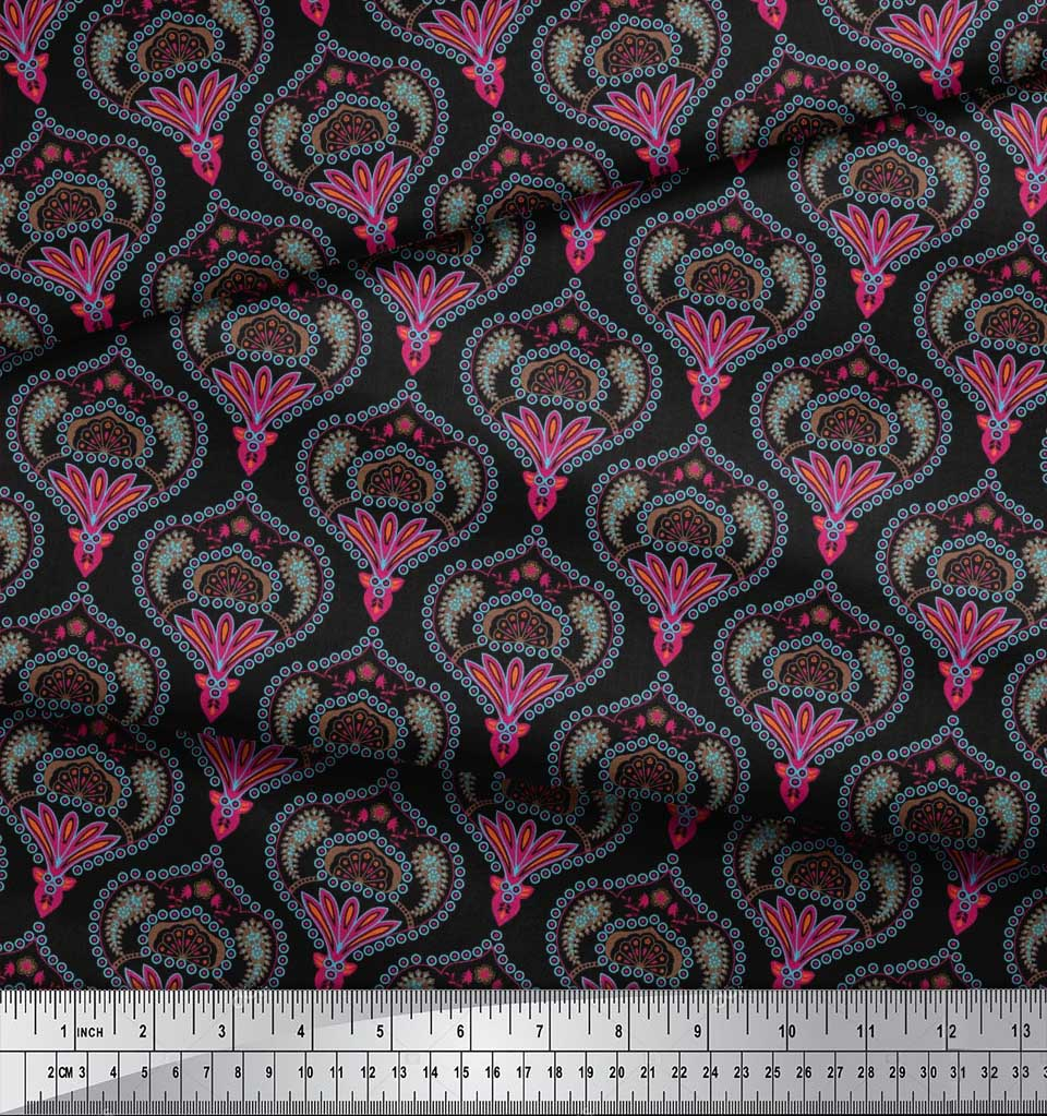 Soimoi-Black-Cotton-Poplin-Fabric-Moroccan-Damask-Printed-Craft-cul thumbnail 3