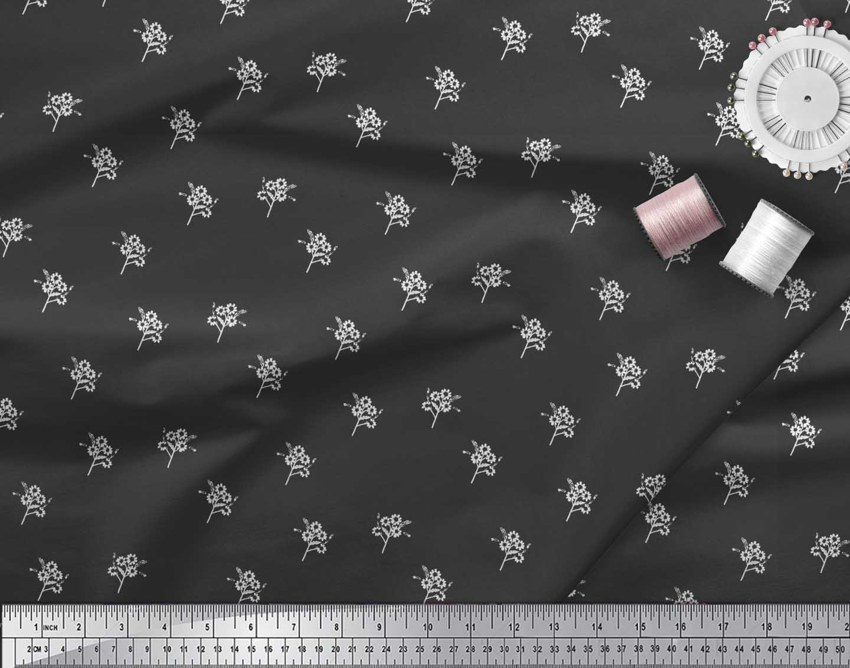Soimoi-Black-Cotton-Poplin-Fabric-Artistic-Floral-Fabric-Prints-gyu thumbnail 4