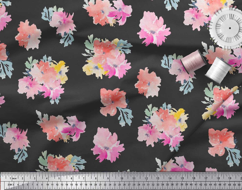 Soimoi-Cotton-Poplin-Fabric-Flower-Watercolor-Printed-Fabric-1-metre-IJw thumbnail 3