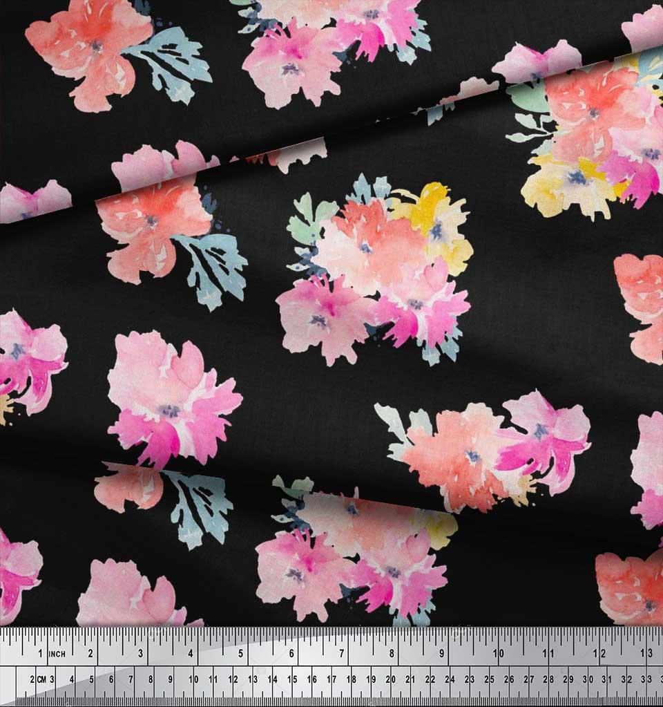 Soimoi-Cotton-Poplin-Fabric-Flower-Watercolor-Printed-Fabric-1-metre-IJw thumbnail 4