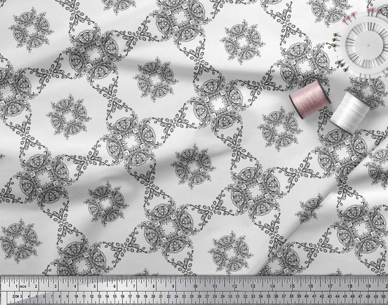 Soimoi-Cotton-Poplin-Fabric-Leaves-amp-Floral-Geometric-Print-Fabric-4zj thumbnail 3