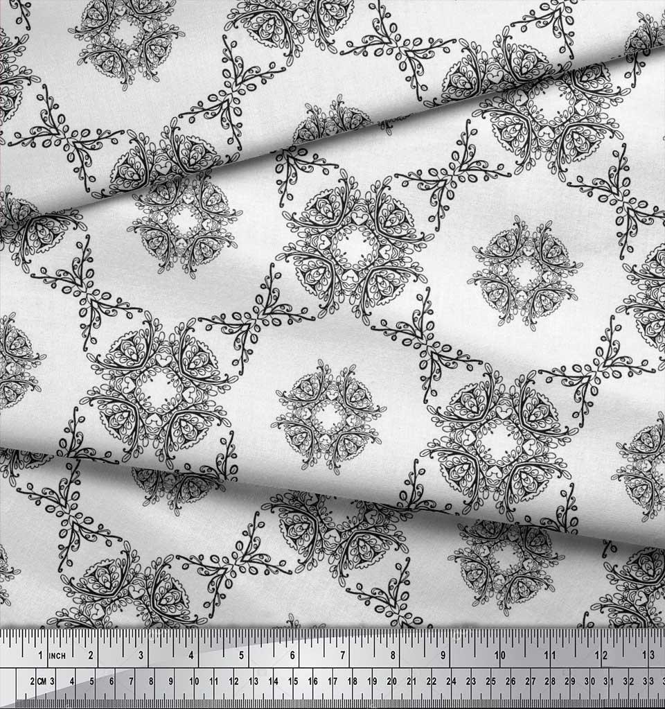 Soimoi-Cotton-Poplin-Fabric-Leaves-amp-Floral-Geometric-Print-Fabric-4zj thumbnail 4