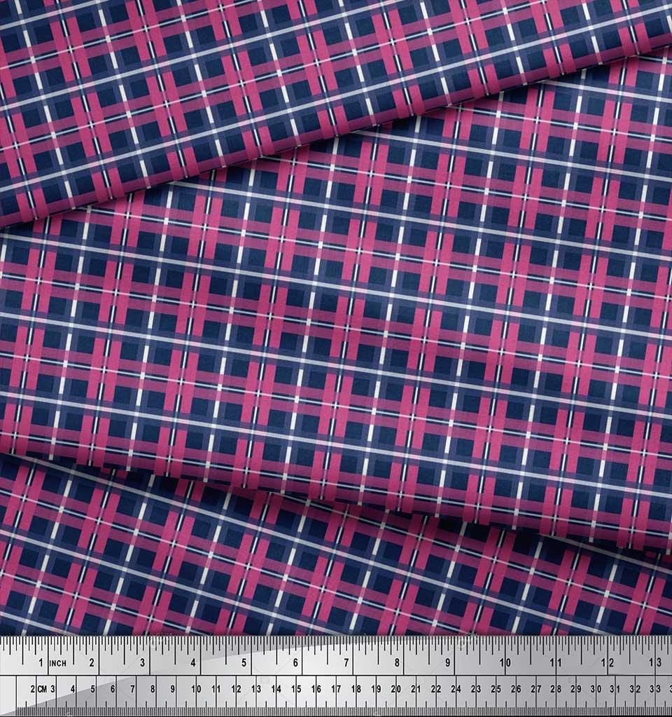 Soimoi-Cotton-Poplin-Fabric-Check-Check-Decor-Fabric-Printed-metre-FiS thumbnail 3