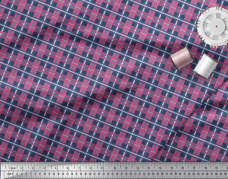 Soimoi-Cotton-Poplin-Fabric-Check-Check-Decor-Fabric-Printed-metre-FiS thumbnail 4