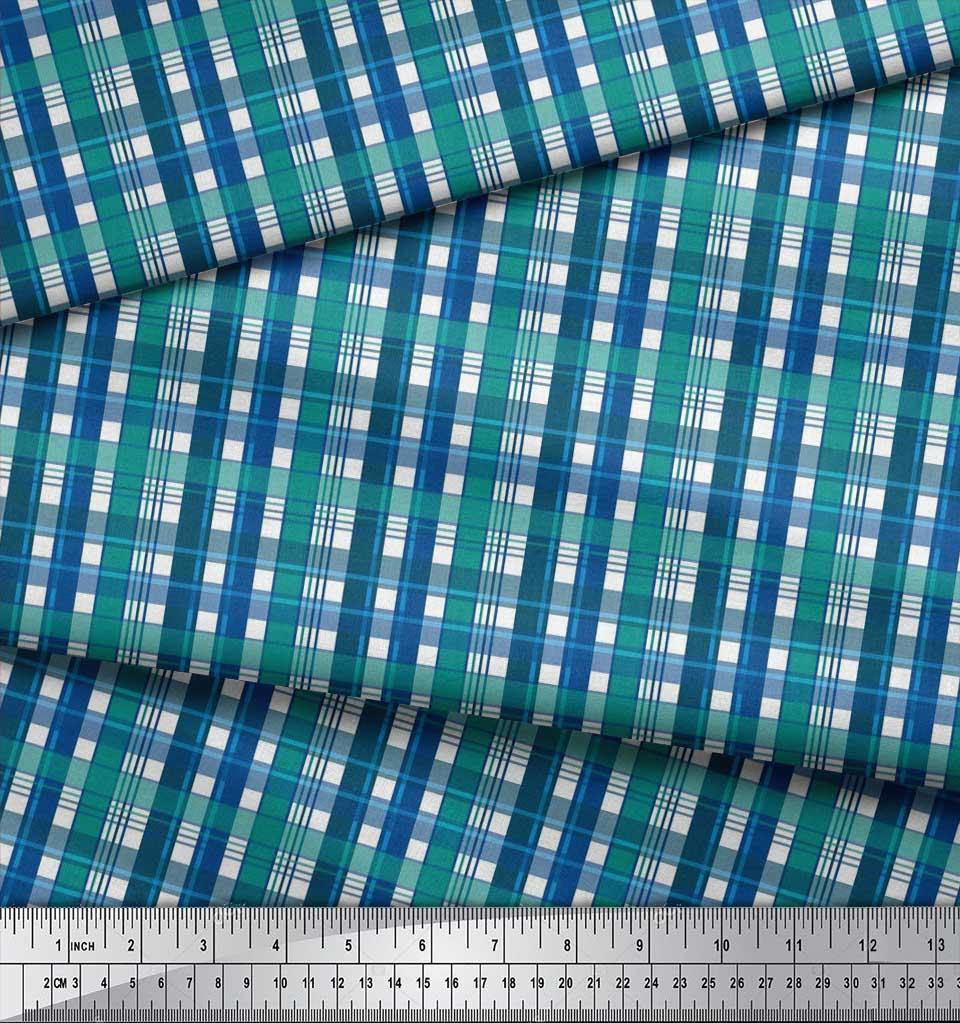 Soimoi-Cotton-Poplin-Fabric-Gingham-Check-Print-Fabric-by-metre-Wu2 thumbnail 3
