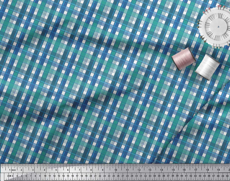 Soimoi-Cotton-Poplin-Fabric-Gingham-Check-Print-Fabric-by-metre-Wu2 thumbnail 4
