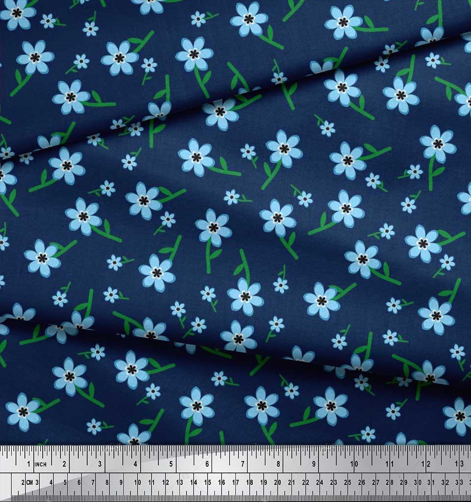 Soimoi-Cotton-Poplin-Fabric-Leaves-amp-Periwinkle-Floral-Print-Fabric-Upo thumbnail 3