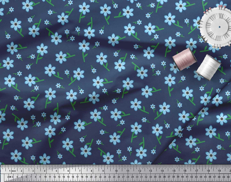 Soimoi-Cotton-Poplin-Fabric-Leaves-amp-Periwinkle-Floral-Print-Fabric-Upo thumbnail 4