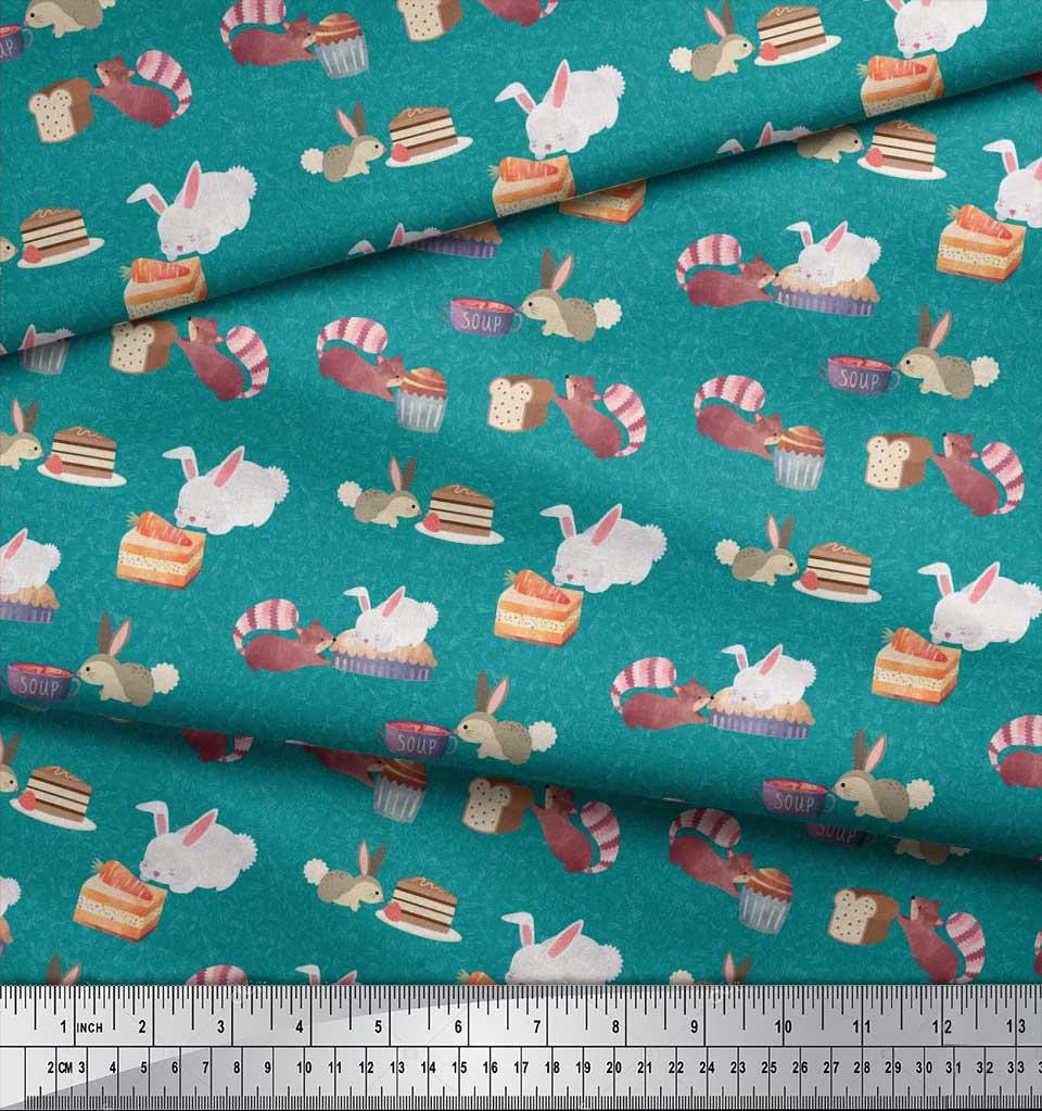 Soimoi-Green-Cotton-Poplin-Fabric-Rabbit-Animal-Print-Fabric-by-mfi thumbnail 4