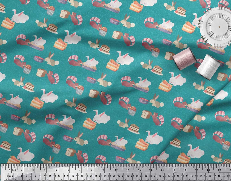 Soimoi-Green-Cotton-Poplin-Fabric-Rabbit-Animal-Print-Fabric-by-mfi thumbnail 3