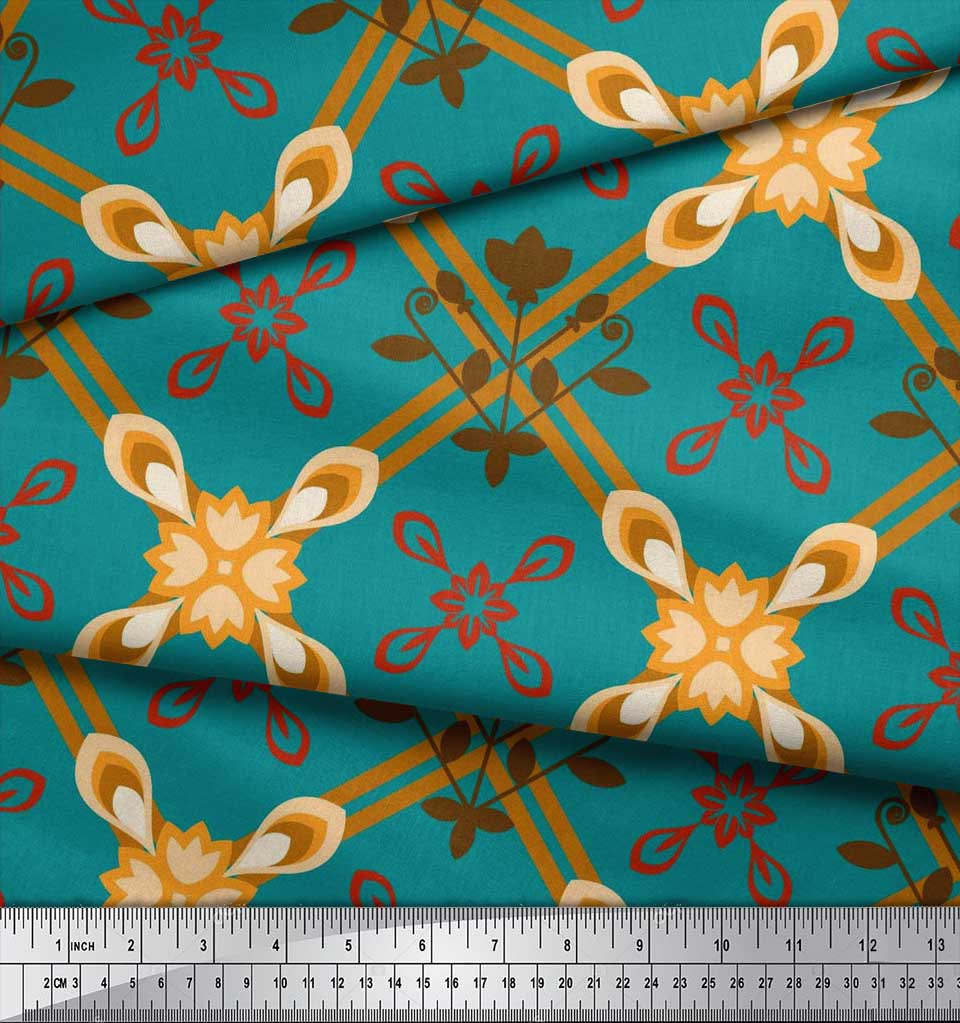 Soimoi-Cotton-Poplin-Fabric-Argyle-Check-Print-Fabric-by-metre-42-Ylm thumbnail 3
