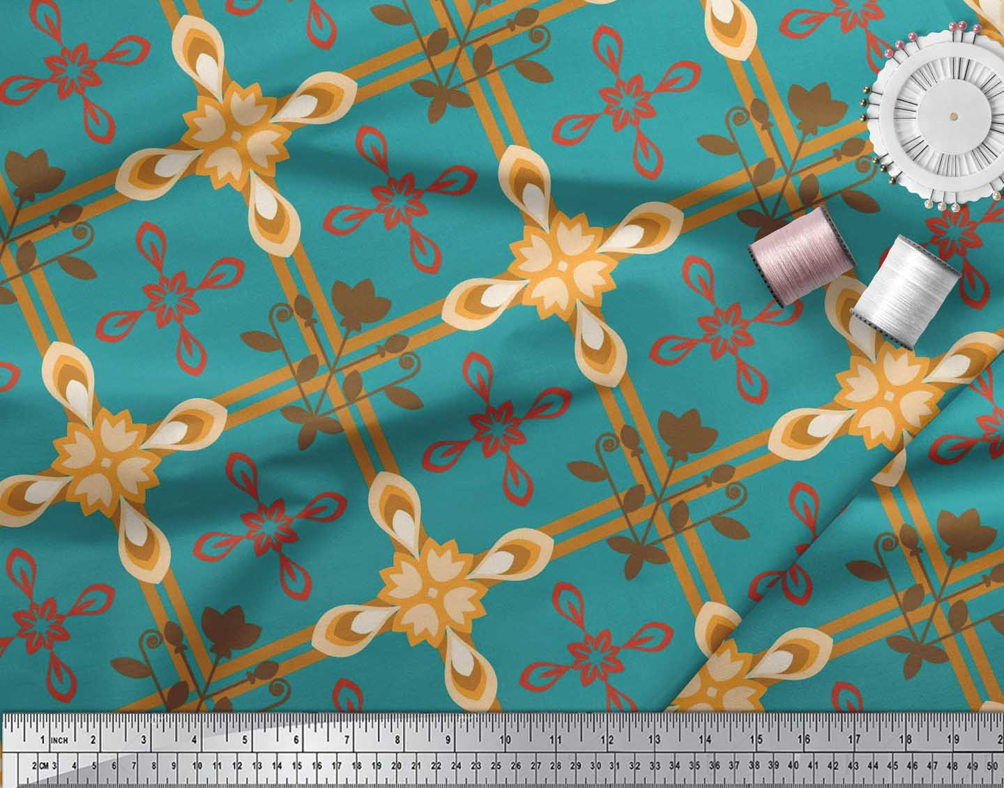 Soimoi-Cotton-Poplin-Fabric-Argyle-Check-Print-Fabric-by-metre-42-Ylm thumbnail 4