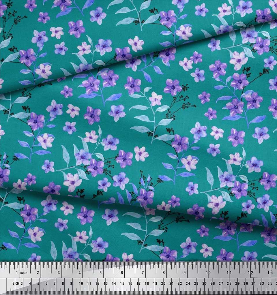 Soimoi-Cotton-Poplin-Fabric-Leaves-amp-Periwinkle-Floral-Print-Fabric-gXq thumbnail 3