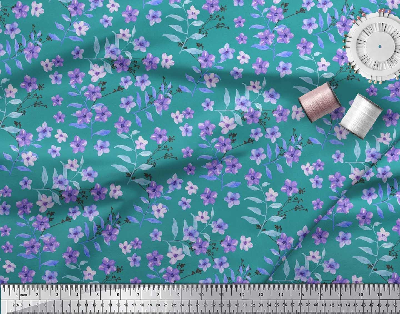 Soimoi-Cotton-Poplin-Fabric-Leaves-amp-Periwinkle-Floral-Print-Fabric-gXq thumbnail 4