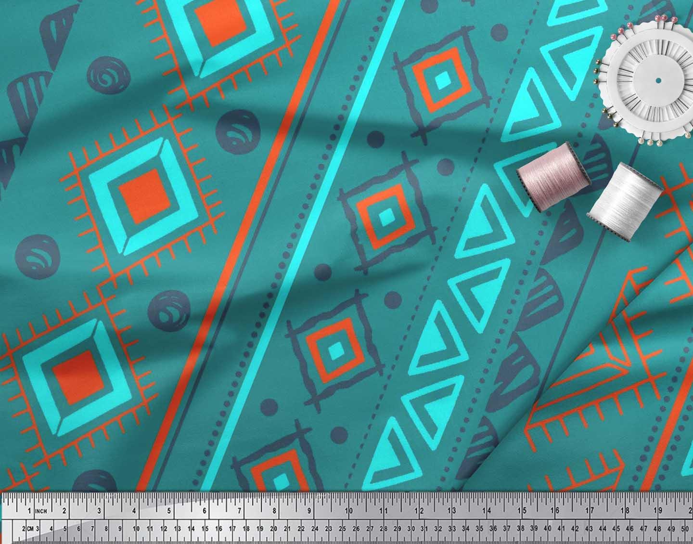 Soimoi-Green-Cotton-Poplin-Fabric-Aztec-Geometric-Print-Sewing-Fabric-vfy thumbnail 3