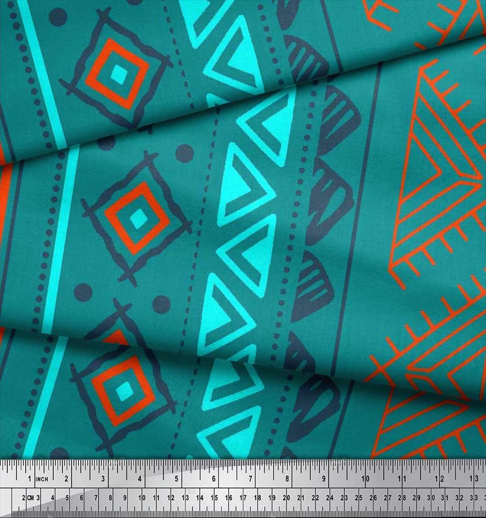Soimoi-Green-Cotton-Poplin-Fabric-Aztec-Geometric-Print-Sewing-Fabric-vfy thumbnail 4