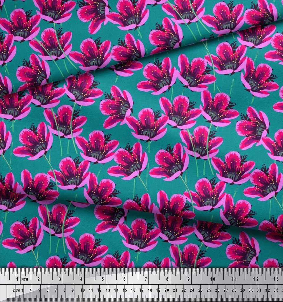 Soimoi-Cotton-Poplin-Fabric-Artistic-Floral-Print-Fabric-by-the-QfF thumbnail 3