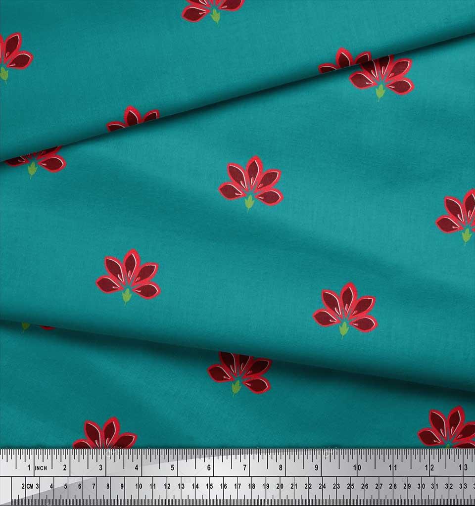 Soimoi-Cotton-Poplin-Fabric-Artistic-Floral-Printed-Fabric-1-metre-yC3 thumbnail 3