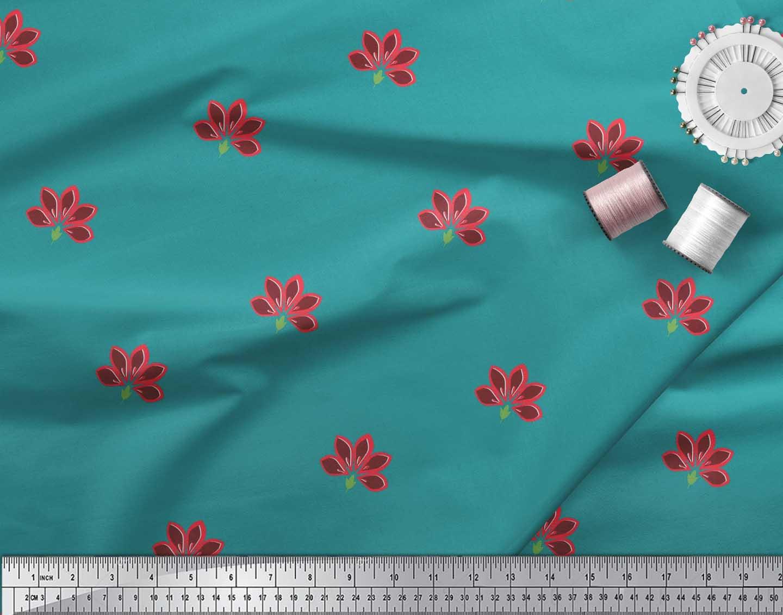 Soimoi-Cotton-Poplin-Fabric-Artistic-Floral-Printed-Fabric-1-metre-yC3 thumbnail 4