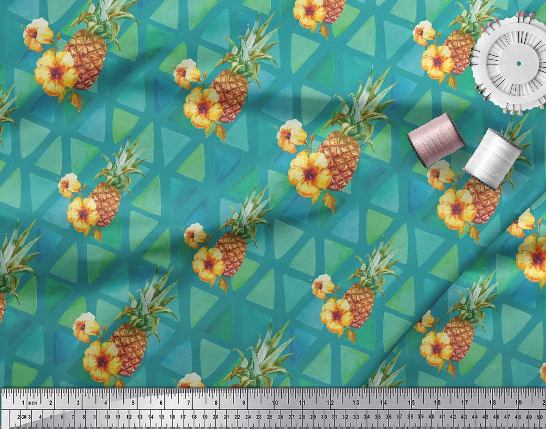 Soimoi-Green-Cotton-Poplin-Fabric-Triangle-amp-Pine-Fruits-Fabric-EjD thumbnail 3