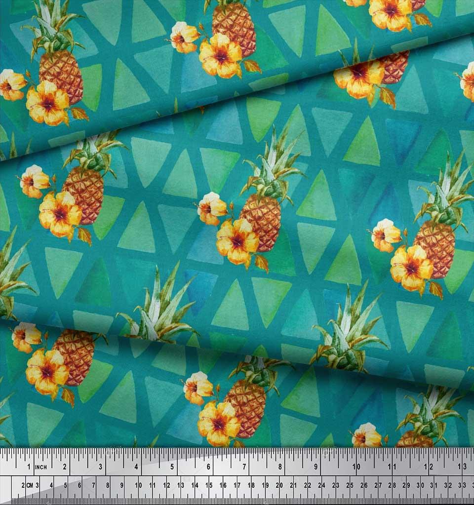 Soimoi-Green-Cotton-Poplin-Fabric-Triangle-amp-Pine-Fruits-Fabric-EjD thumbnail 4