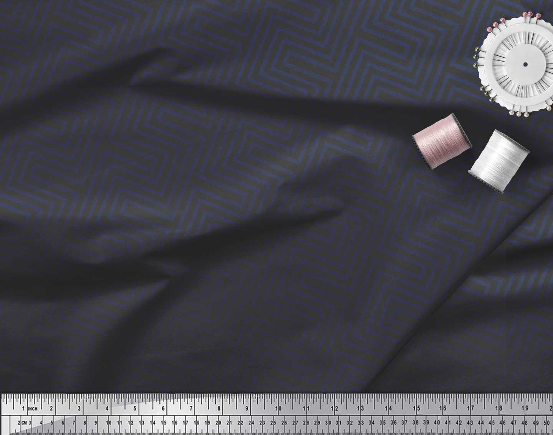 Soimoi-Cotton-Poplin-Fabric-Square-amp-Spiral-Geometric-Print-Fabric-YTr thumbnail 4