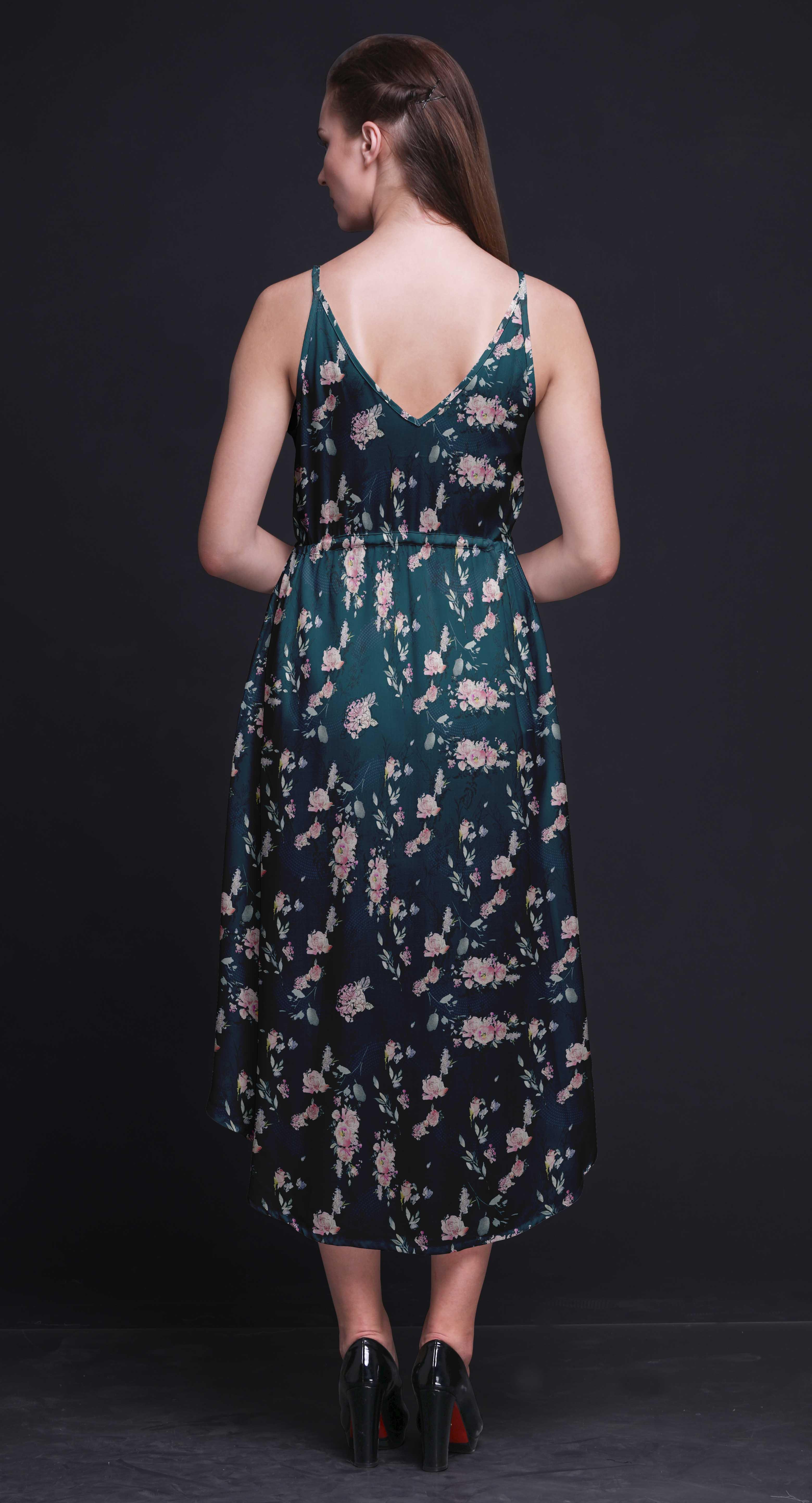 c53a34a67709 Bimba Floral Women Summer Printed V Neck Midi Dress Holiday Resort ...