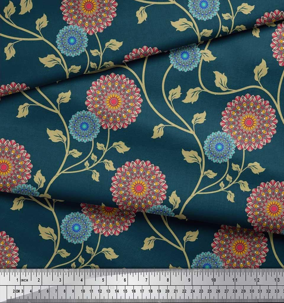 Soimoi-Cotton-Poplin-Fabric-Artistic-Floral-Printed-Craft-Fabric-tnM thumbnail 4