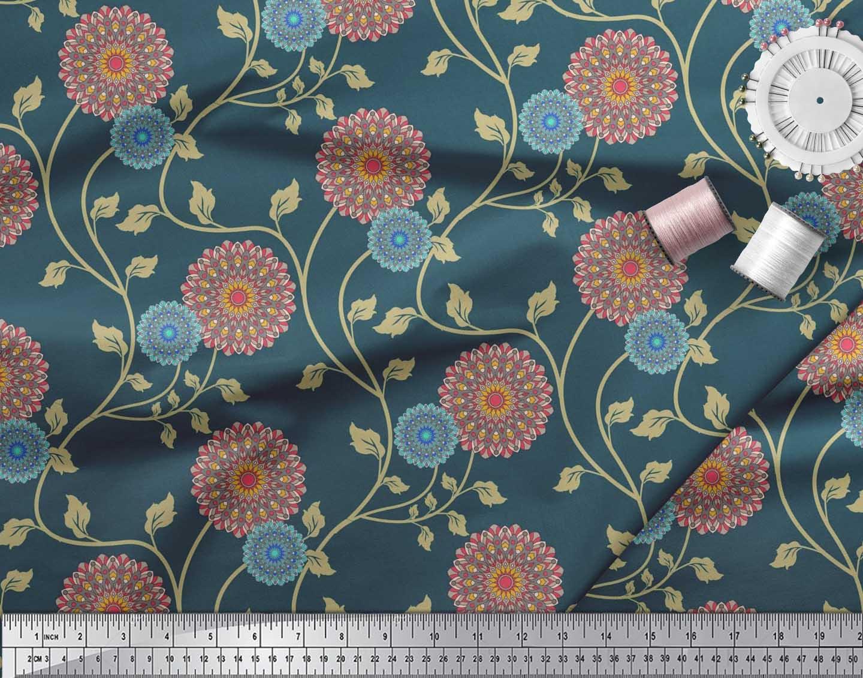 Soimoi-Cotton-Poplin-Fabric-Artistic-Floral-Printed-Craft-Fabric-tnM thumbnail 3