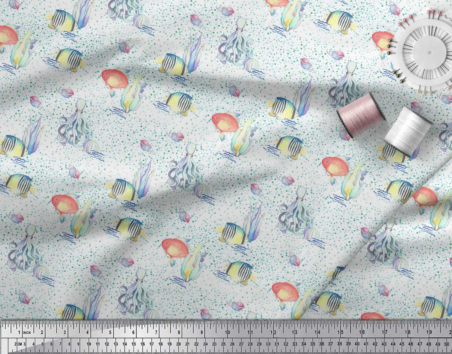 Soimoi-Cotton-Poplin-Fabric-Fish-amp-Octopus-Ocean-Print-Sewing-Fabric-e1E thumbnail 3
