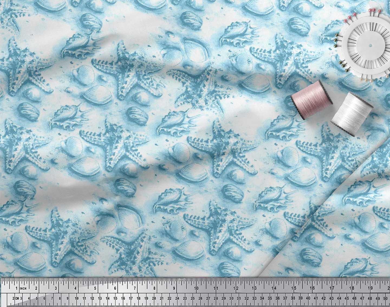 Soimoi-Blue-Cotton-Poplin-Fabric-Shell-amp-Starfish-Ocean-Print-Fabric-EpF thumbnail 3