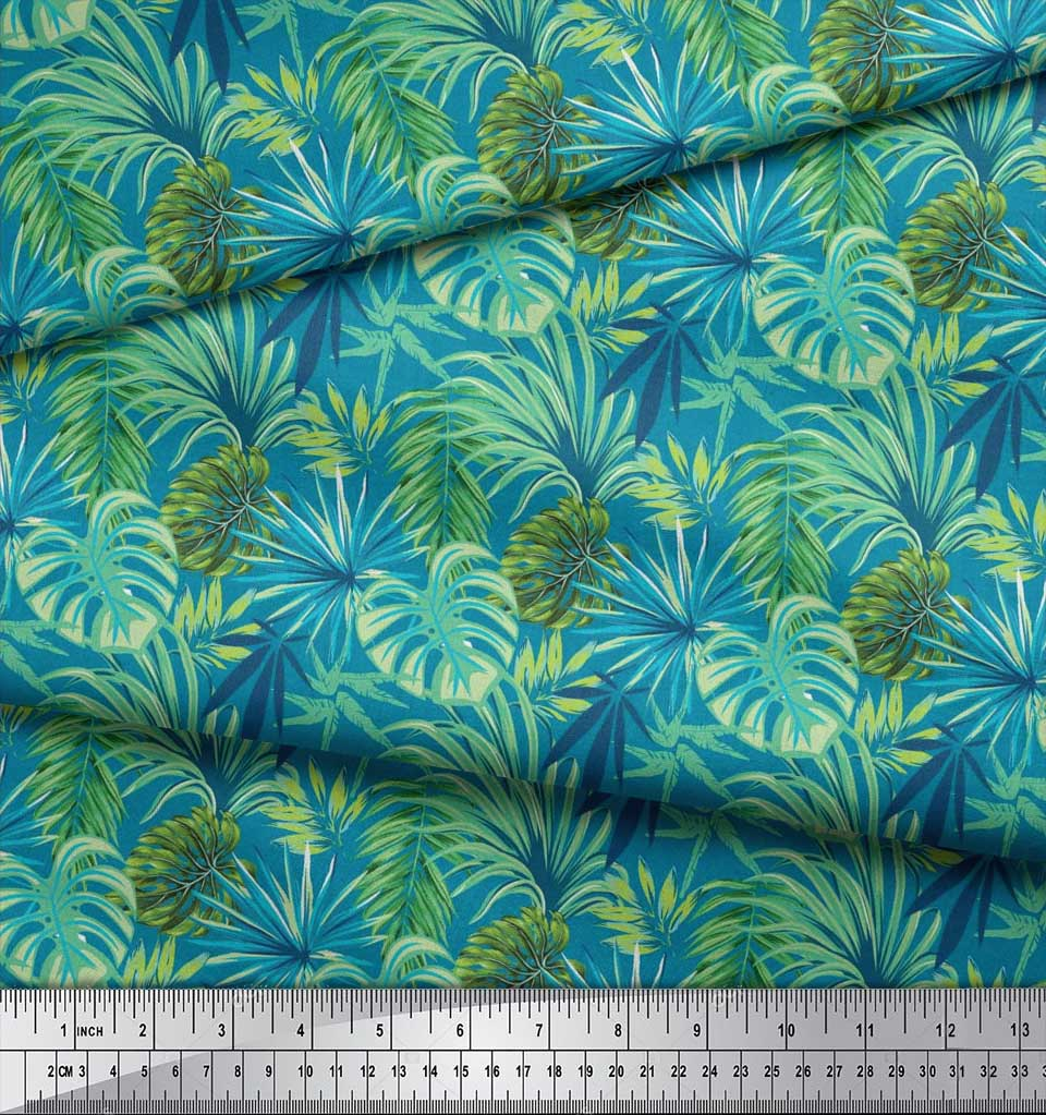 Soimoi-Cotton-Poplin-Fabric-Tropical-Leaves-Printed-Craft-Fabric-b0u thumbnail 4