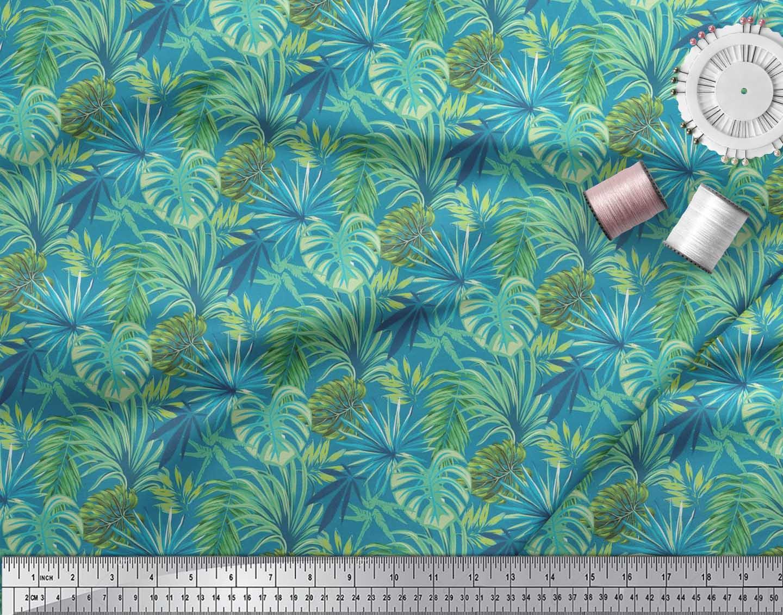 Soimoi-Cotton-Poplin-Fabric-Tropical-Leaves-Printed-Craft-Fabric-b0u thumbnail 3