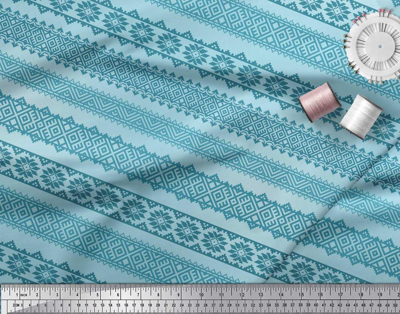 Soimoi-Cotton-Poplin-Fabric-Aztec-Geometric-Fabric-Prints-By-metre-aXi thumbnail 4