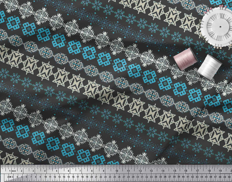 Soimoi-Cotton-Poplin-Fabric-Aztec-Geometric-Printed-Craft-Fabric-WhL thumbnail 3