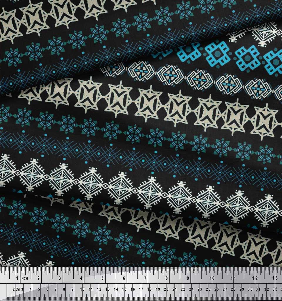 Soimoi-Cotton-Poplin-Fabric-Aztec-Geometric-Printed-Craft-Fabric-WhL thumbnail 4
