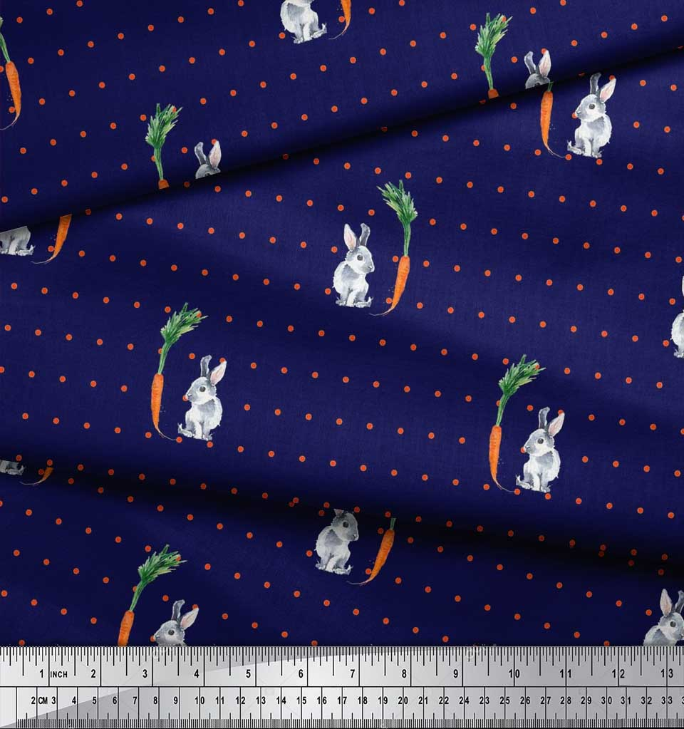 Soimoi-Cotton-Poplin-Fabric-Carrot-amp-Rabbit-Dots-Print-Fabric-by-pE5 thumbnail 4