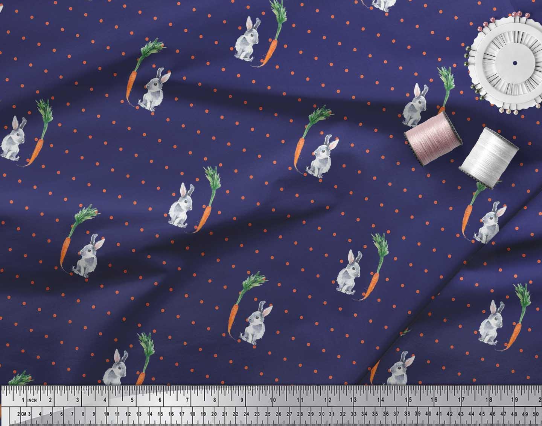 Soimoi-Cotton-Poplin-Fabric-Carrot-amp-Rabbit-Dots-Print-Fabric-by-pE5 thumbnail 3