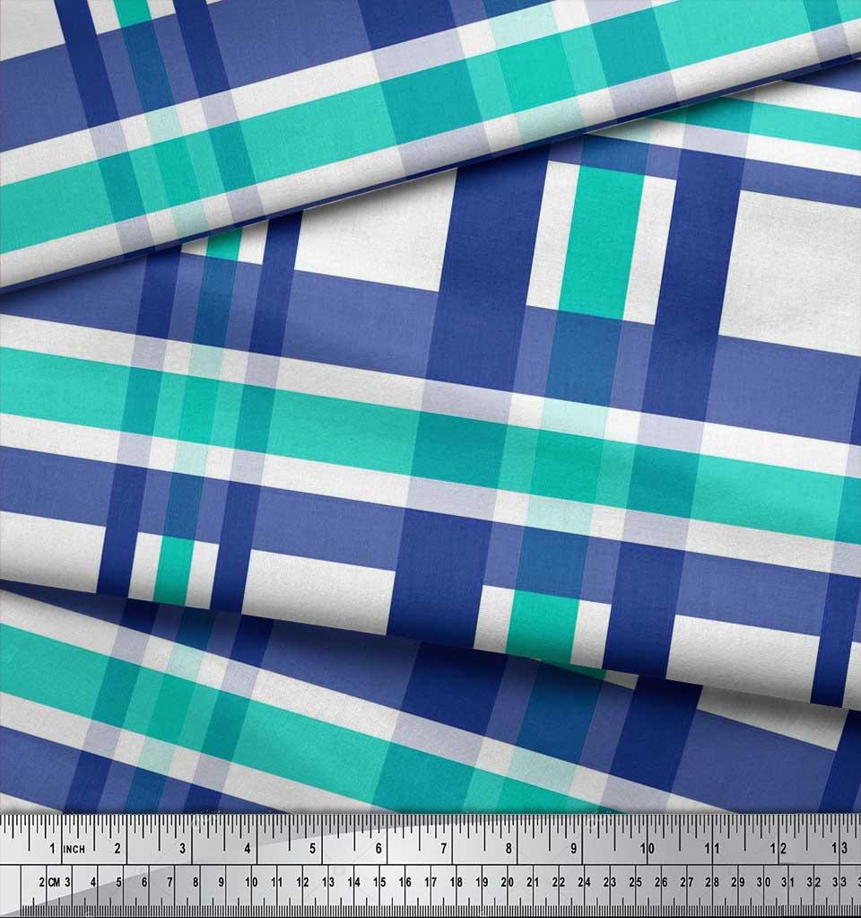 Soimoi-Green-Cotton-Poplin-Fabric-Gingham-Check-Print-Fabric-by-ekr thumbnail 4