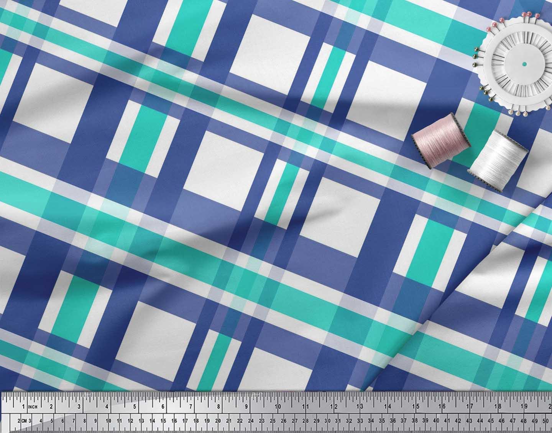 Soimoi-Green-Cotton-Poplin-Fabric-Gingham-Check-Print-Fabric-by-ekr thumbnail 3