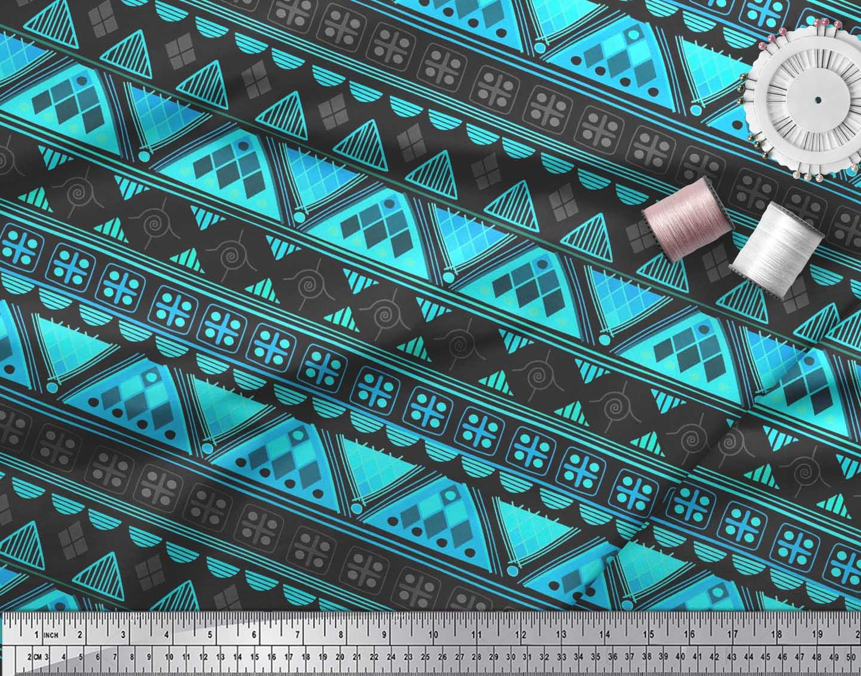 Soimoi-Green-Cotton-Poplin-Fabric-Aztec-Geometric-Printed-Fabric-9Ft thumbnail 3